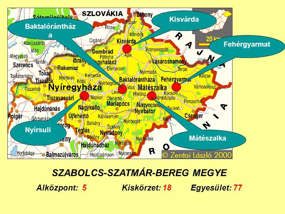 SZABOLCS-SZATMÁR-BEREG MEGYE Alközpont: 5Kiskörzet: 18 Egyesület: 77 Fehérgyarmat Kisvárda Baktalórántház a Mátészalka Nyírsuli