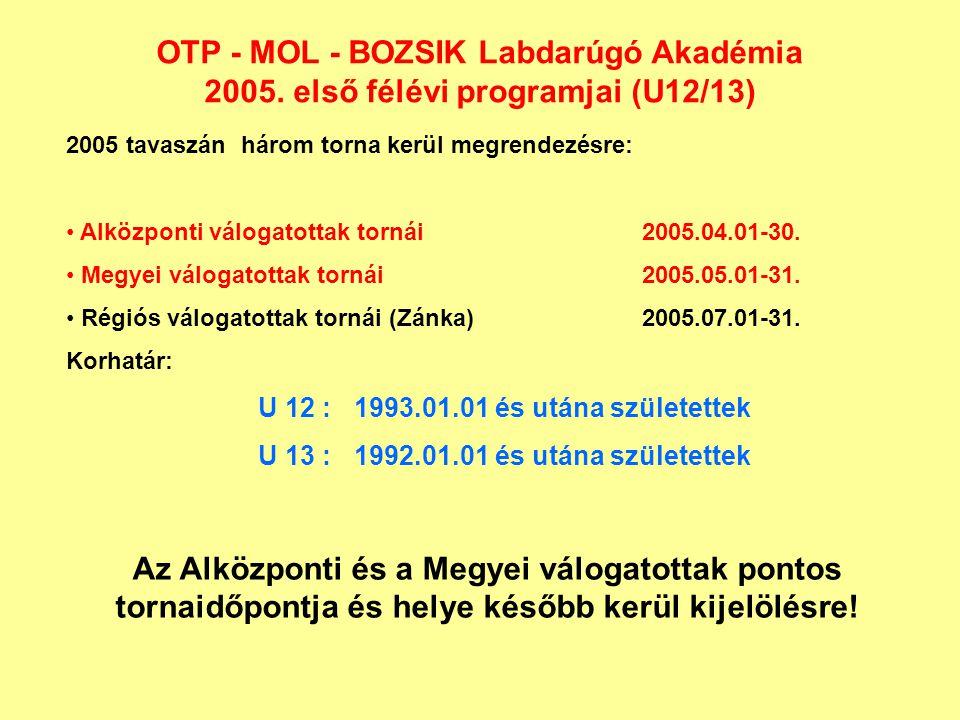 OTP - MOL - BOZSIK Labdarúgó Akadémia 2005. első félévi programjai (U12/13) 2005 tavaszán három torna kerül megrendezésre: Alközponti válogatottak tor