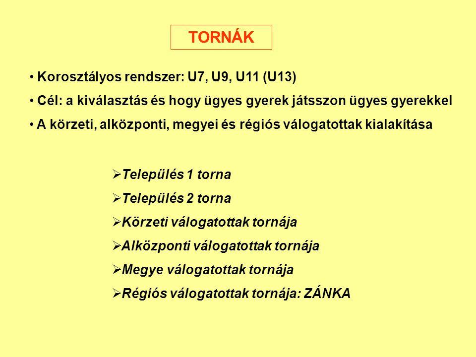 TORNÁK Korosztályos rendszer: U7, U9, U11 (U13) Cél: a kiválasztás és hogy ügyes gyerek játsszon ügyes gyerekkel A körzeti, alközponti, megyei és régi
