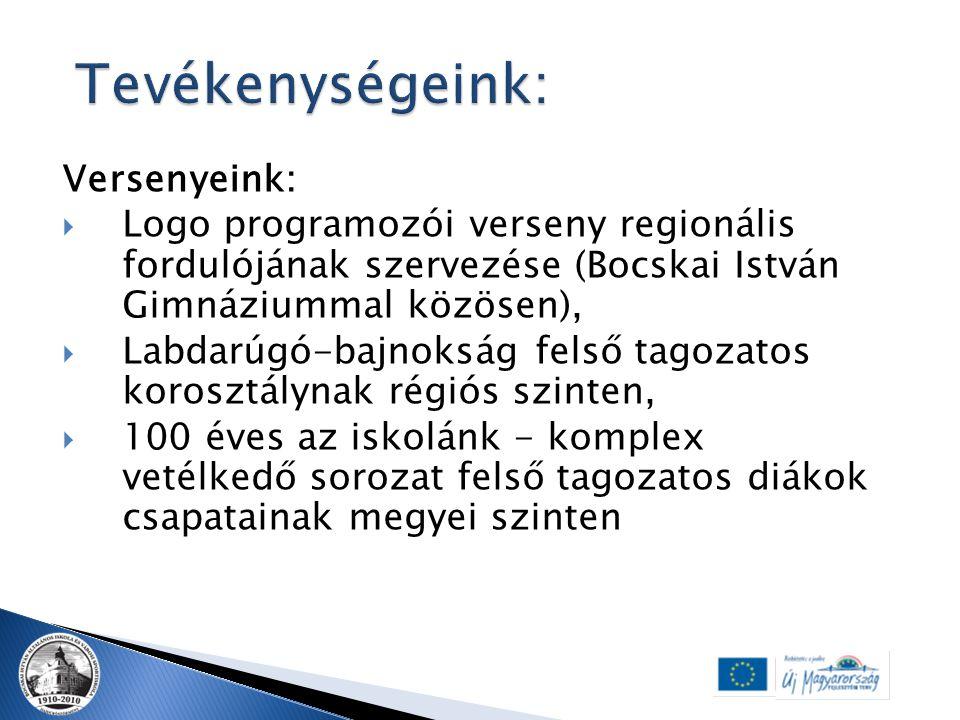 Versenyeink:  Logo programozói verseny regionális fordulójának szervezése (Bocskai István Gimnáziummal közösen),  Labdarúgó-bajnokság felső tagozatos korosztálynak régiós szinten,  100 éves az iskolánk - komplex vetélkedő sorozat felső tagozatos diákok csapatainak megyei szinten