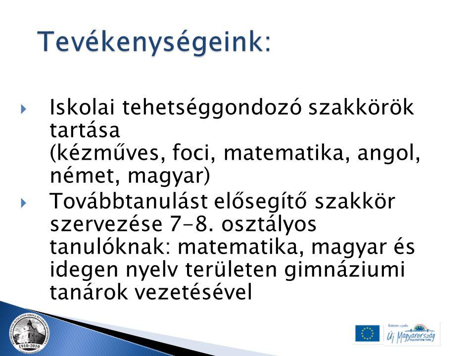  Iskolai tehetséggondozó szakkörök tartása (kézműves, foci, matematika, angol, német, magyar)  Továbbtanulást elősegítő szakkör szervezése 7-8. oszt
