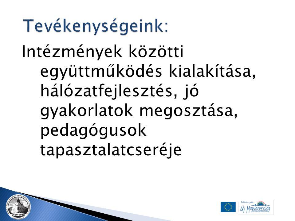 Intézmények közötti együttműködés kialakítása, hálózatfejlesztés, jó gyakorlatok megosztása, pedagógusok tapasztalatcseréje
