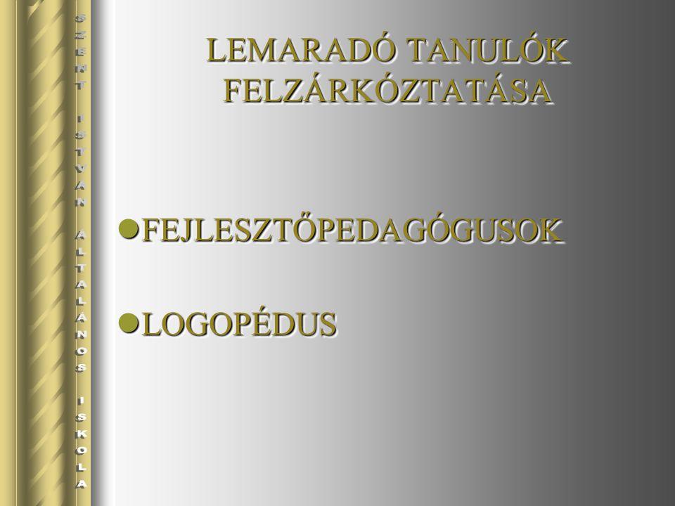 FEJLESZTŐPEDAGÓGUSOK FEJLESZTŐPEDAGÓGUSOK LOGOPÉDUS LOGOPÉDUS FEJLESZTŐPEDAGÓGUSOK FEJLESZTŐPEDAGÓGUSOK LOGOPÉDUS LOGOPÉDUS LEMARADÓ TANULÓK FELZÁRKÓZ