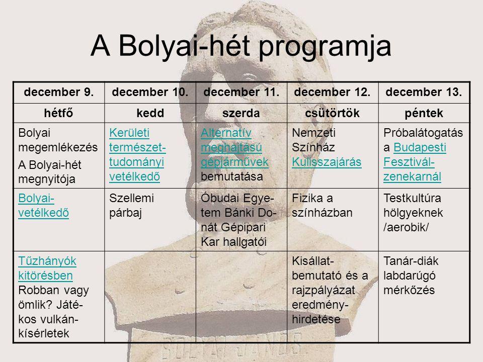 A Bolyai-hét programja december 9.december 10.december 11.december 12.december 13. hétfőkeddszerdacsütörtökpéntek Bolyai megemlékezés A Bolyai-hét meg