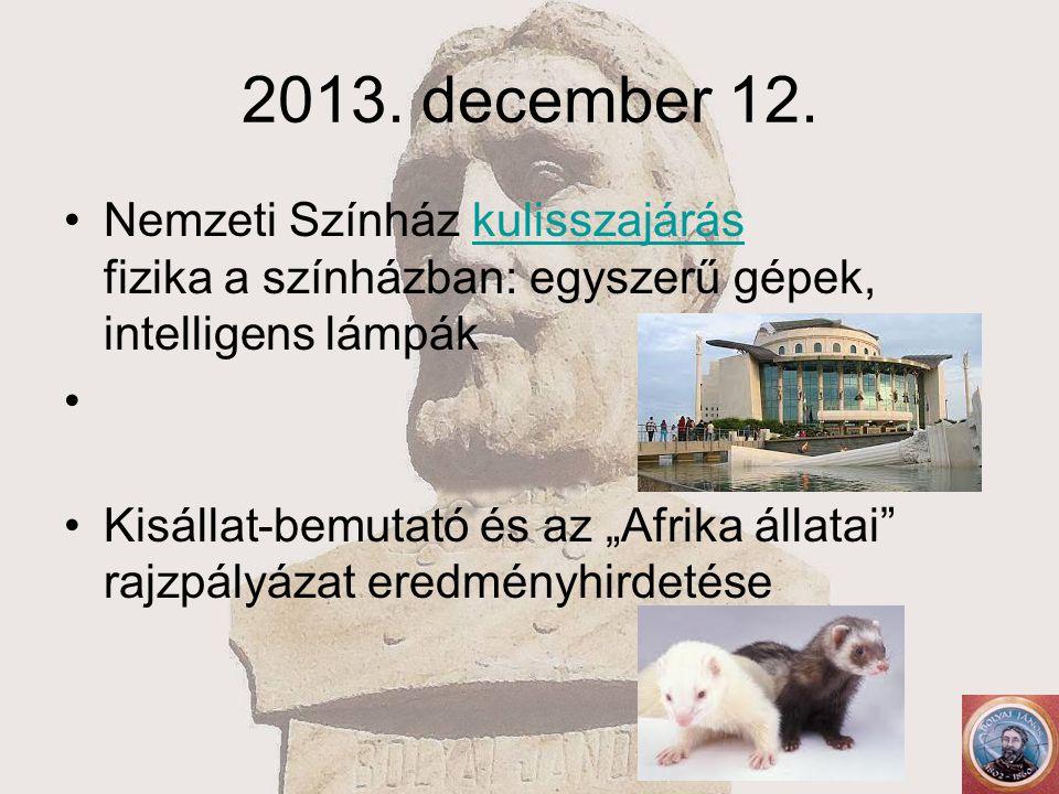 """2013. december 12. Nemzeti Színház kulisszajárás fizika a színházban: egyszerű gépek, intelligens lámpákkulisszajárás Kisállat-bemutató és az """"Afrika"""