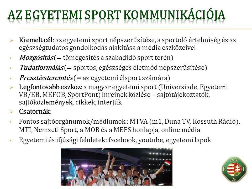  Kiemelt cél: az egyetemi sport népszerűsítése, a sportoló értelmiség és az egészségtudatos gondolkodás alakítása a média eszközeivel Mozgósítás (= tömegesítés a szabadidő sport terén) Tudatformálás (= sportos, egészséges életmód népszerűsítése) Presztízsteremtés (= az egyetemi élsport számára)  Legfontosabb eszköz: a magyar egyetemi sport (Universiade, Egyetemi VB/EB, MEFOB, SportPont) híreinek közlése – sajtótájékoztatók, sajtóközlemények, cikkek, interjúk  Csatornák: Fontos sajtóorgánumok/médiumok : MTVA (m1, Duna TV, Kossuth Rádió), MTI, Nemzeti Sport, a MOB és a MEFS honlapja, online média Egyetemi és ifjúsági felületek: facebook, youtube, egyetemi lapok
