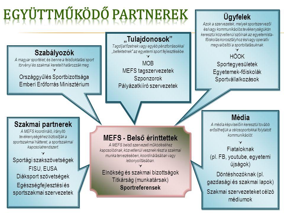 19 MEFS - Belső érinttettek A MEFS belső szervezeti működéséhez kapcsolódnak, közvetlenül vesznek részt a szakmai munka tervezésében, koordinálásában vagy lebonyolításában.
