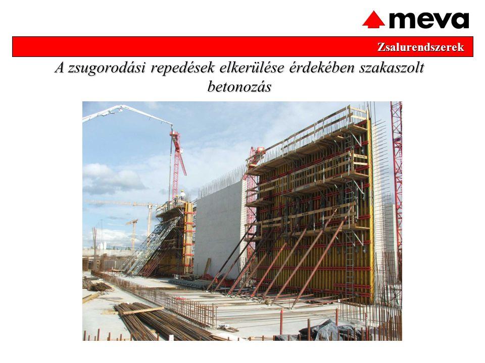 Zsalurendszerek Zsalurendszerek A zsugorodási repedések elkerülése érdekében szakaszolt betonozás