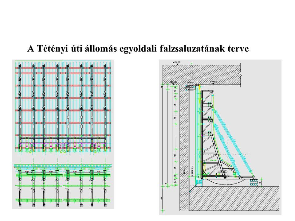 A Tétényi úti állomás egyoldali falzsaluzatának terve