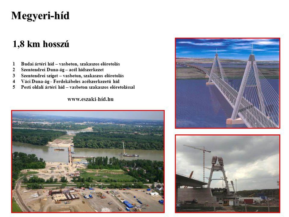 Megyeri-híd km hosszú 1,8 km hosszú 1 Budai ártéri híd – vasbeton, szakaszos előretolás 2 Szentendrei Duna-ág – acél hídszerkezet 3 Szentendrei sziget