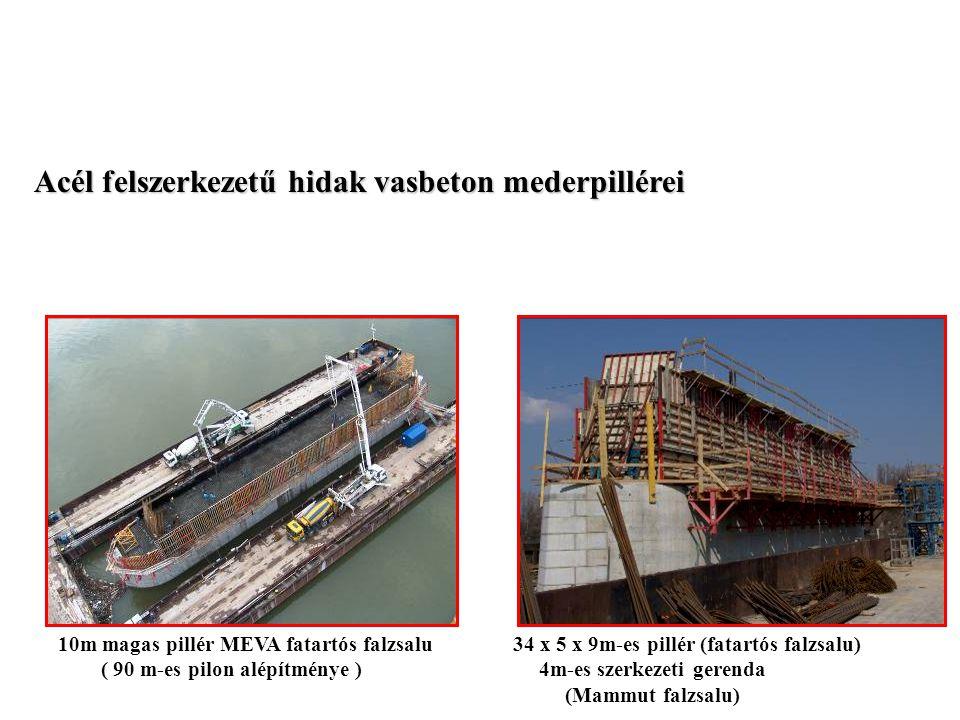 Acél felszerkezetű hidak vasbeton mederpillérei 10m magas pillér MEVA fatartós falzsalu 34 x 5 x 9m-es pillér (fatartós falzsalu) ( 90 m-es pilon alép