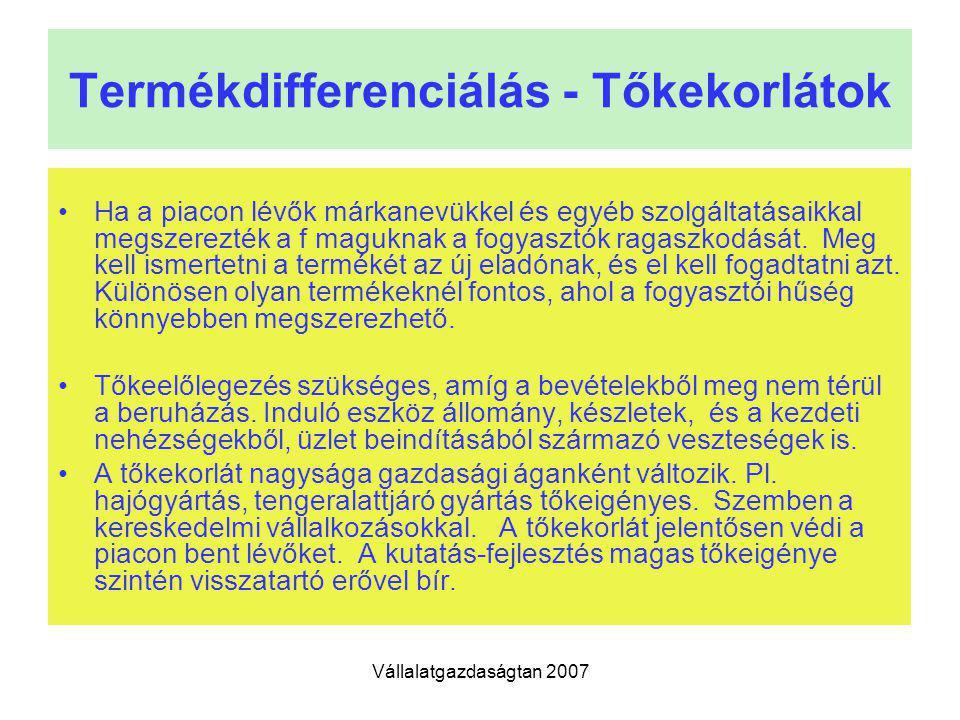 Vállalatgazdaságtan 2007 Termékdifferenciálás - Tőkekorlátok Ha a piacon lévők márkanevükkel és egyéb szolgáltatásaikkal megszerezték a f maguknak a f