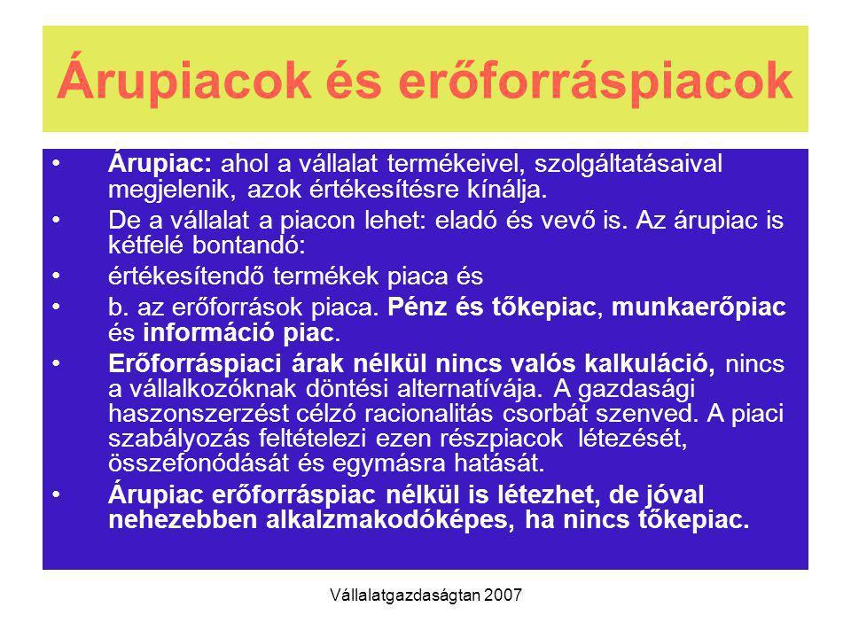 Vállalatgazdaságtan 2007 Árupiacok és erőforráspiacok Árupiac: ahol a vállalat termékeivel, szolgáltatásaival megjelenik, azok értékesítésre kínálja.