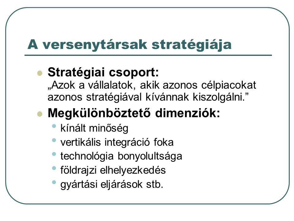 """A versenytársak stratégiája Stratégiai csoport: """"Azok a vállalatok, akik azonos célpiacokat azonos stratégiával kívánnak kiszolgálni."""" Megkülönböztető"""