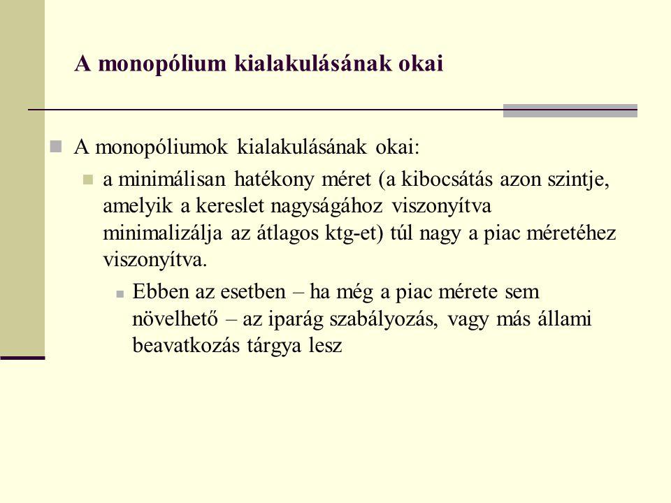 A monopólium kialakulásának okai A monopóliumok kialakulásának okai: a minimálisan hatékony méret (a kibocsátás azon szintje, amelyik a kereslet nagyságához viszonyítva minimalizálja az átlagos ktg-et) túl nagy a piac méretéhez viszonyítva.