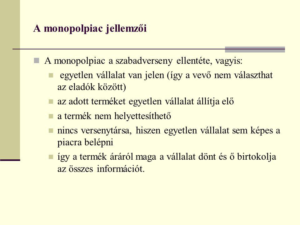 A monopolpiac jellemzői A monopolpiac a szabadverseny ellentéte, vagyis: egyetlen vállalat van jelen (így a vevő nem választhat az eladók között) az a
