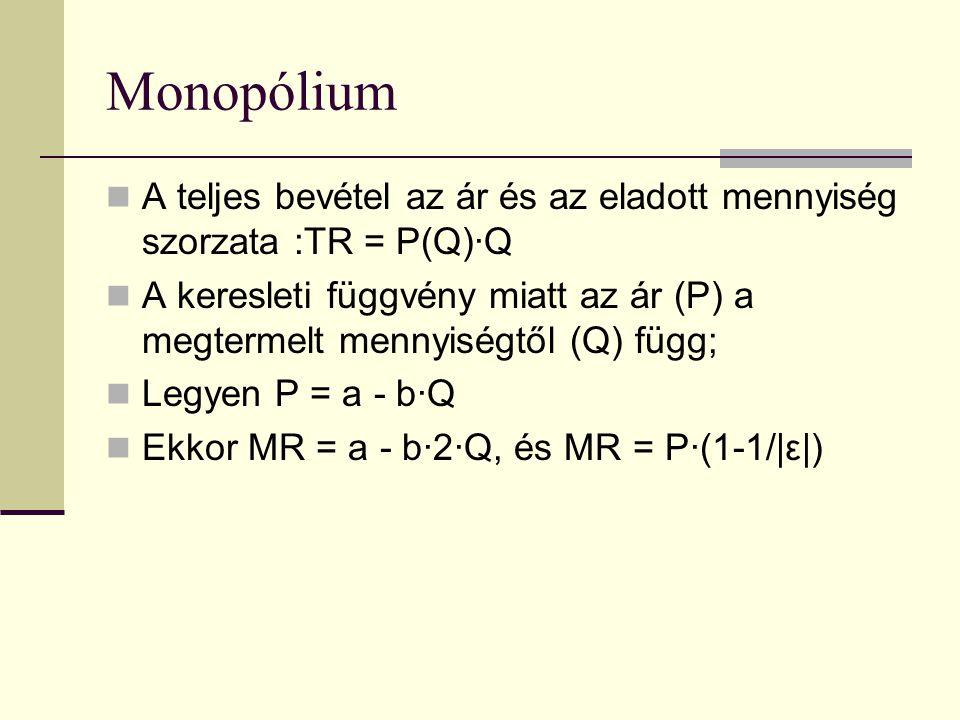 Monopólium A teljes bevétel az ár és az eladott mennyiség szorzata :TR = P(Q)·Q A keresleti függvény miatt az ár (P) a megtermelt mennyiségtől (Q) függ; Legyen P = a - b·Q Ekkor MR = a - b·2·Q, és MR = P·(1-1/|ε|)