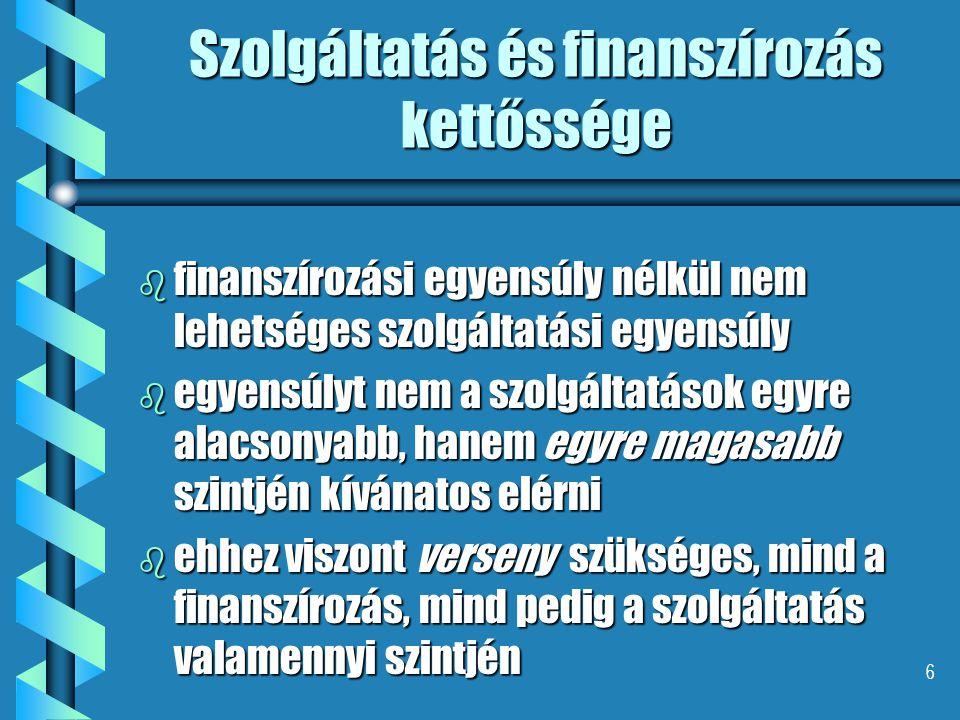 6 Szolgáltatás és finanszírozás kettőssége b finanszírozási egyensúly nélkül nem lehetséges szolgáltatási egyensúly b egyensúlyt nem a szolgáltatások
