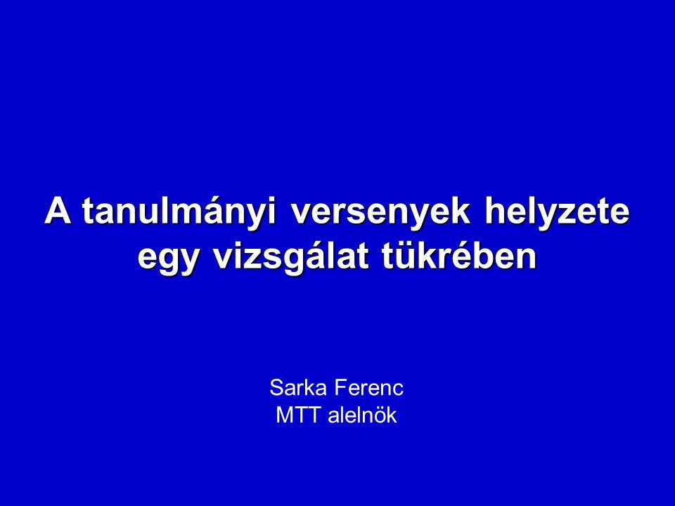 A tanulmányi versenyek helyzete egy vizsgálat tükrében Sarka Ferenc MTT alelnök
