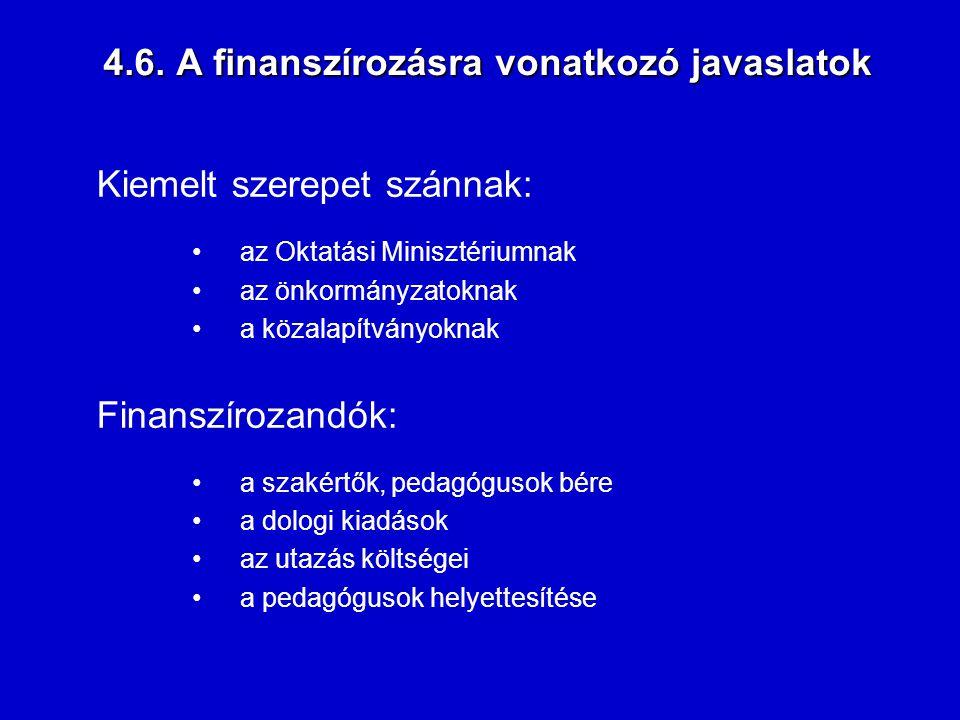 4.6. A finanszírozásra vonatkozó javaslatok Kiemelt szerepet szánnak: az Oktatási Minisztériumnak az önkormányzatoknak a közalapítványoknak Finanszíro