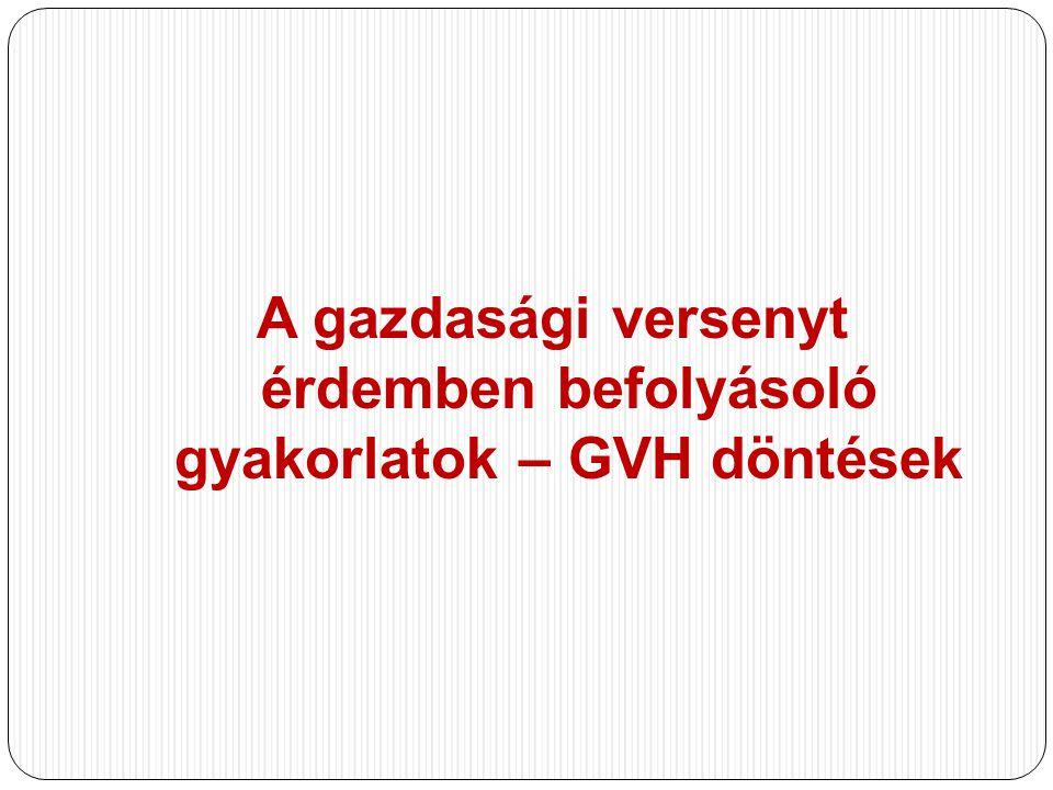 A gazdasági versenyt érdemben befolyásoló gyakorlatok – GVH döntések