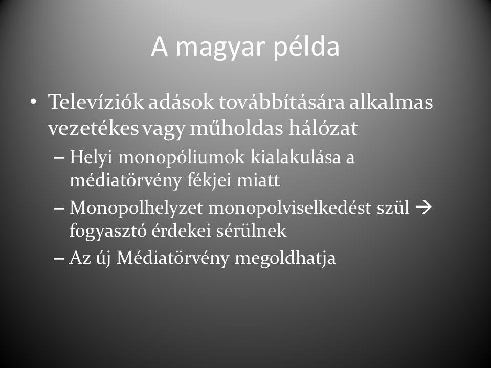 A magyar példa Televíziók adások továbbítására alkalmas vezetékes vagy műholdas hálózat – Helyi monopóliumok kialakulása a médiatörvény fékjei miatt – Monopolhelyzet monopolviselkedést szül  fogyasztó érdekei sérülnek – Az új Médiatörvény megoldhatja