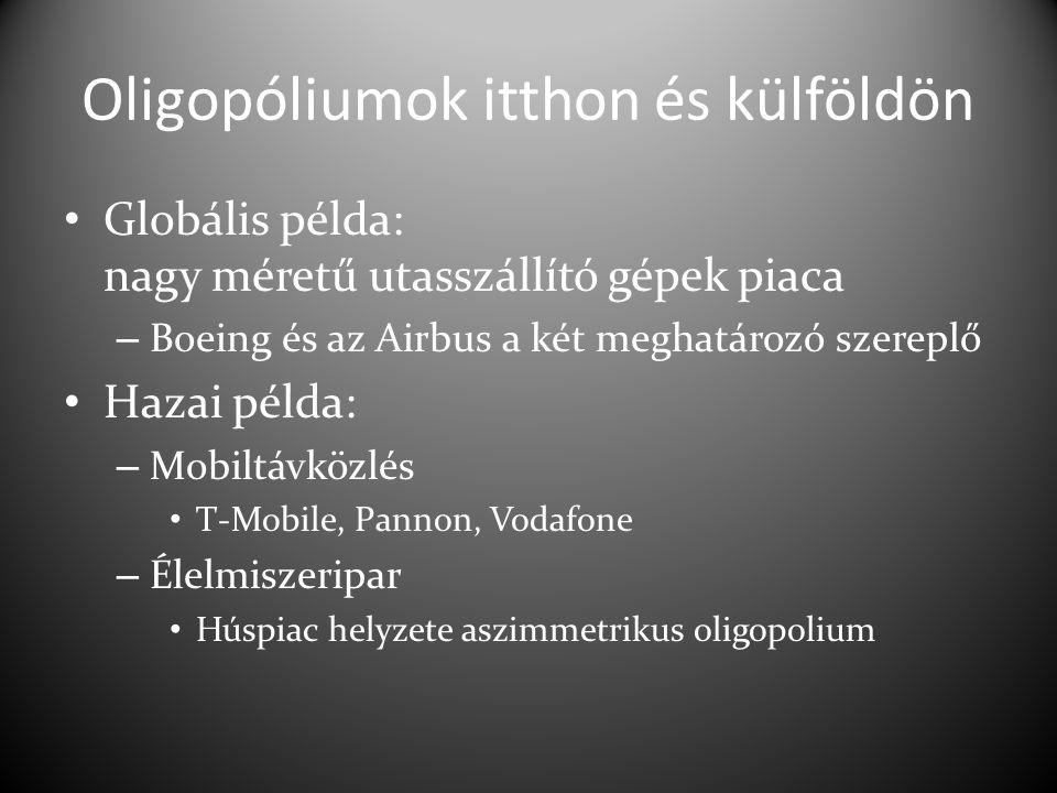 Oligopóliumok itthon és külföldön Globális példa: nagy méretű utasszállító gépek piaca – Boeing és az Airbus a két meghatározó szereplő Hazai példa: – Mobiltávközlés T-Mobile, Pannon, Vodafone – Élelmiszeripar Húspiac helyzete aszimmetrikus oligopolium