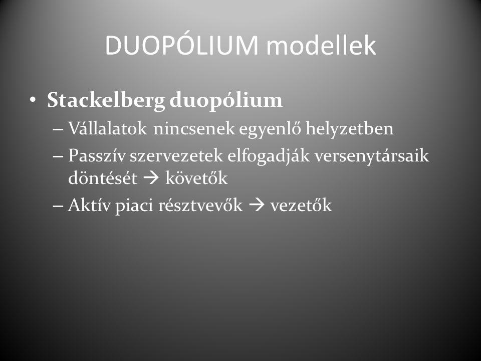 DUOPÓLIUM modellek Stackelberg duopólium – Vállalatok nincsenek egyenlő helyzetben – Passzív szervezetek elfogadják versenytársaik döntését  követők – Aktív piaci résztvevők  vezetők