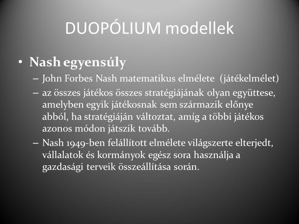 DUOPÓLIUM modellek Nash egyensúly – John Forbes Nash matematikus elmélete (játékelmélet) – az összes játékos összes stratégiájának olyan együttese, amelyben egyik játékosnak sem származik előnye abból, ha stratégiáján változtat, amíg a többi játékos azonos módon játszik tovább.