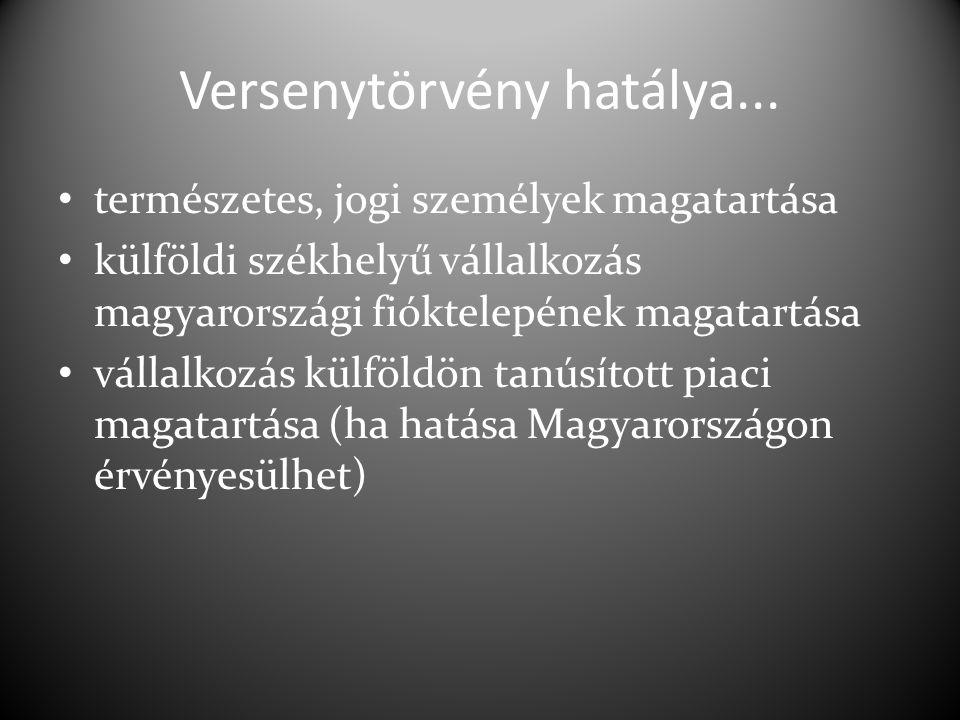 Versenytörvény hatálya... természetes, jogi személyek magatartása külföldi székhelyű vállalkozás magyarországi fióktelepének magatartása vállalkozás k