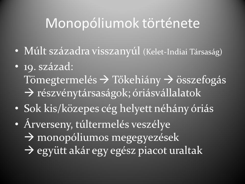 Monopóliumok története Múlt századra visszanyúl (Kelet-Indiai Társaság) 19. század: Tömegtermelés  Tőkehiány  összefogás  részvénytársaságok; óriás