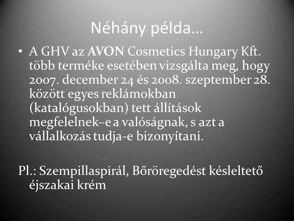 Néhány példa… A GHV az AVON Cosmetics Hungary Kft. több terméke esetében vizsgálta meg, hogy 2007. december 24 és 2008. szeptember 28. között egyes re