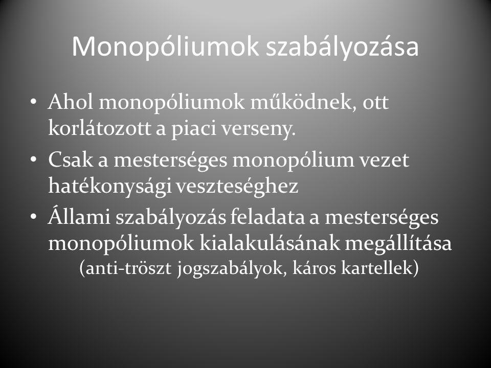 Monopóliumok szabályozása Ahol monopóliumok működnek, ott korlátozott a piaci verseny.