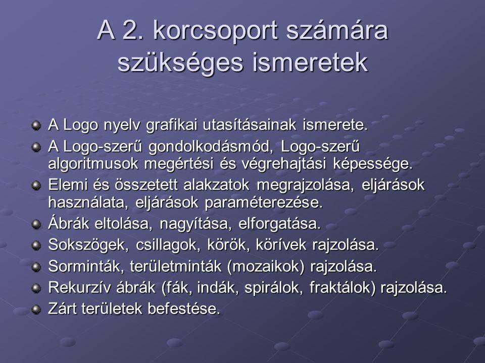 A 2. korcsoport számára szükséges ismeretek A Logo nyelv grafikai utasításainak ismerete. A Logo-szerű gondolkodásmód, Logo-szerű algoritmusok megérté