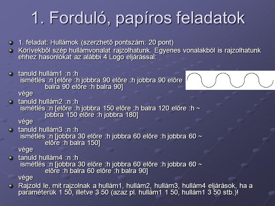 1. Forduló, papíros feladatok 1. feladat: Hullámok (szerzhető pontszám: 20 pont) Körívekből szép hullámvonalat rajzolhatunk. Egyenes vonalakból is raj
