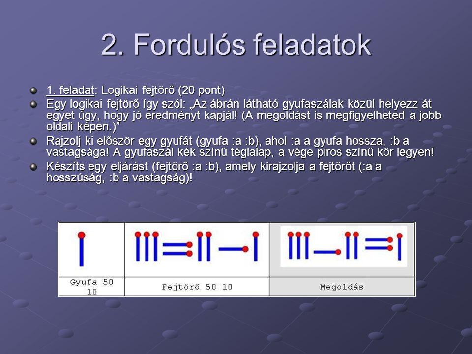 """2. Fordulós feladatok 1. feladat: Logikai fejtörő (20 pont) Egy logikai fejtörő így szól: """"Az ábrán látható gyufaszálak közül helyezz át egyet úgy, ho"""