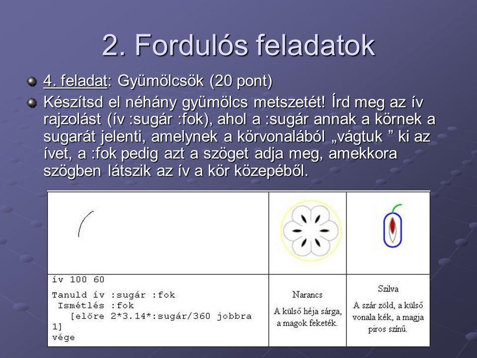 2. Fordulós feladatok 4. feladat: Gyümölcsök (20 pont) Készítsd el néhány gyümölcs metszetét! Írd meg az ív rajzolást (ív :sugár :fok), ahol a :sugár