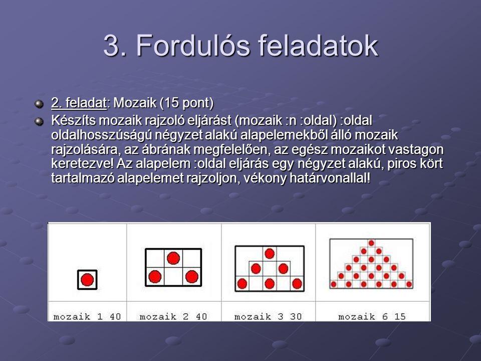 3. Fordulós feladatok 2. feladat: Mozaik (15 pont) Készíts mozaik rajzoló eljárást (mozaik :n :oldal) :oldal oldalhosszúságú négyzet alakú alapelemekb