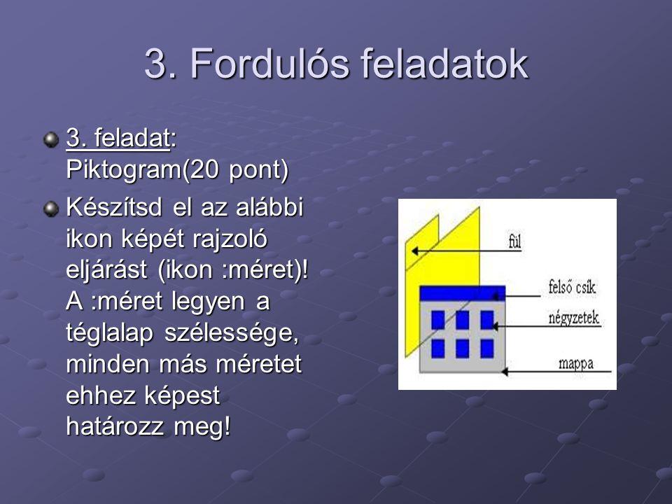 3. Fordulós feladatok 3. feladat: Piktogram(20 pont) Készítsd el az alábbi ikon képét rajzoló eljárást (ikon :méret)! A :méret legyen a téglalap széle