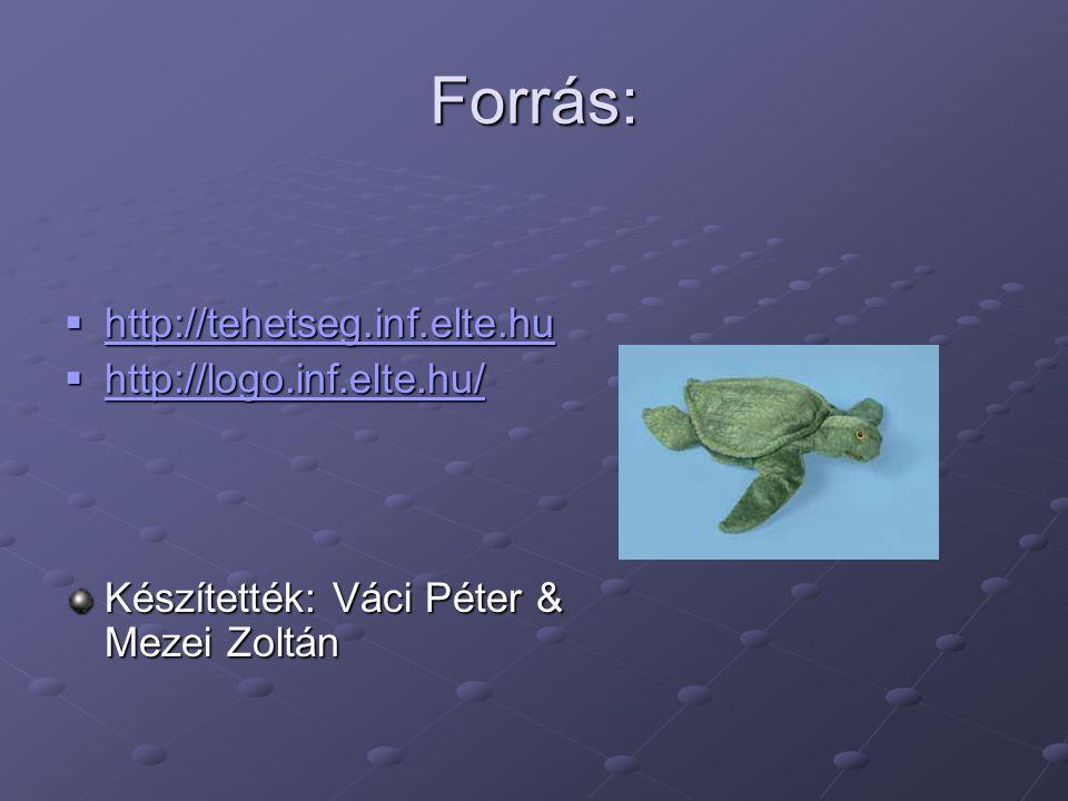 Forrás:  http://tehetseg.inf.elte.hu http://tehetseg.inf.elte.hu  http://logo.inf.elte.hu/ http://logo.inf.elte.hu/ Készítették: Váci Péter & Mezei