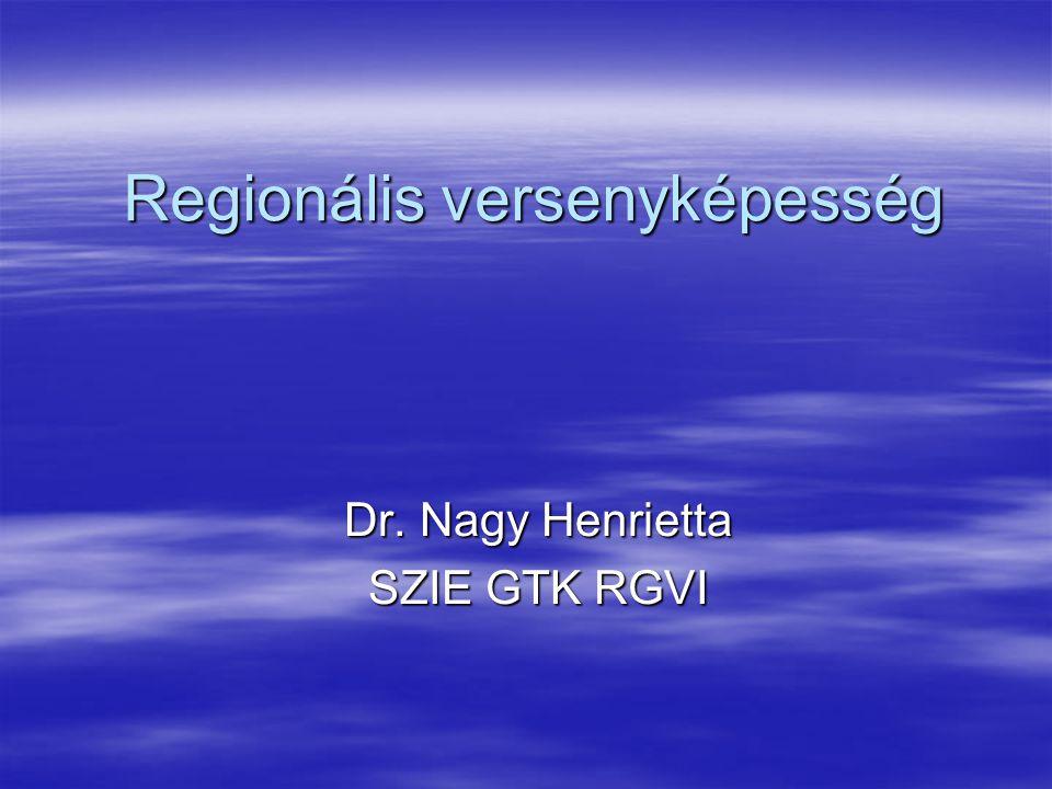 Regionális versenyképesség Dr. Nagy Henrietta SZIE GTK RGVI