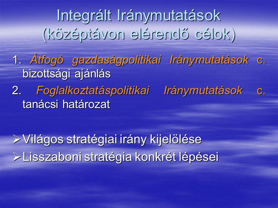 Integrált Iránymutatások (középtávon elérendő célok) 1. Átfogó gazdaságpolitikai Iránymutatások c. bizottsági ajánlás 2. Foglalkoztatáspolitikai Irány