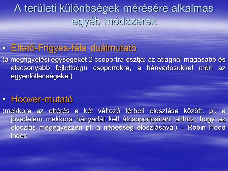 A területi különbségek mérésére alkalmas egyéb módszerek Éltető-Frigyes-féle duálmutatóÉltető-Frigyes-féle duálmutató (a megfigyelési egységeket 2 cso