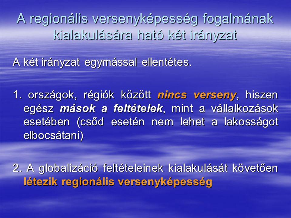 A regionális versenyképesség fogalmának kialakulására ható két irányzat A két irányzat egymással ellentétes. 1. országok, régiók között nincs verseny,