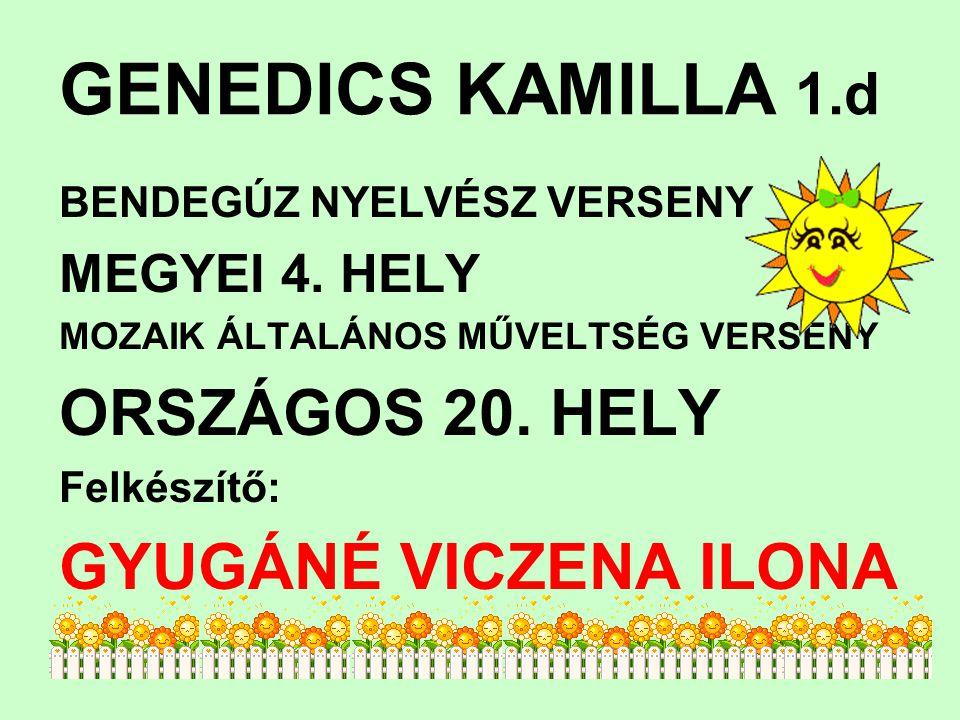 GENEDICS KAMILLA 1.d BENDEGÚZ NYELVÉSZ VERSENY MEGYEI 4. HELY MOZAIK ÁLTALÁNOS MŰVELTSÉG VERSENY ORSZÁGOS 20. HELY Felkészítő: GYUGÁNÉ VICZENA ILONA