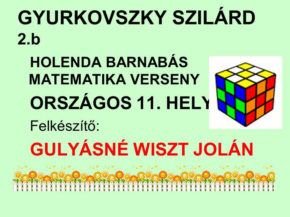 GYURKOVSZKY SZILÁRD 2.b HOLENDA BARNABÁS MATEMATIKA VERSENY ORSZÁGOS 11. HELY Felkészítő: GULYÁSNÉ WISZT JOLÁN