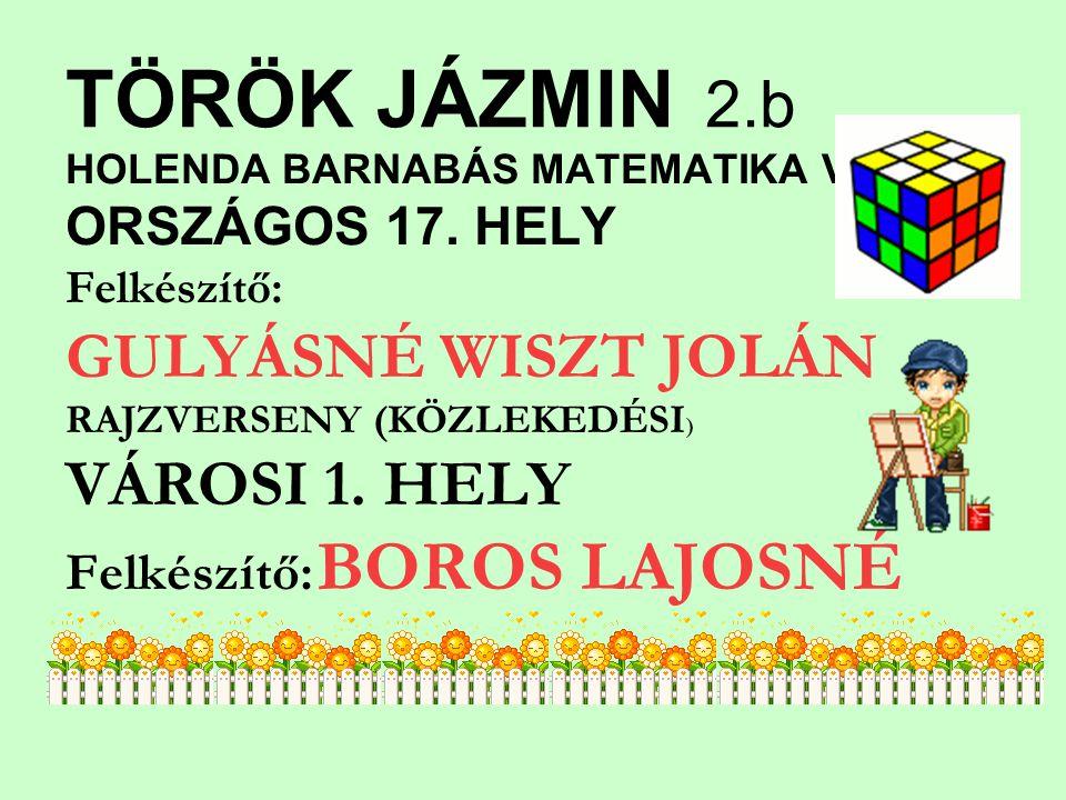 TÖRÖK JÁZMIN 2.b HOLENDA BARNABÁS MATEMATIKA V.ORSZÁGOS 17.