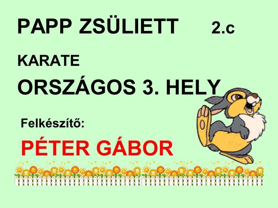 PAPP ZSÜLIETT 2.c KARATE ORSZÁGOS 3. HELY Felkészítő: PÉTER GÁBOR
