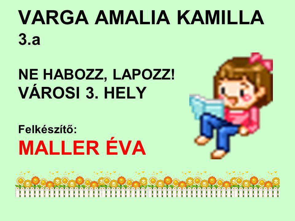 VARGA AMALIA KAMILLA 3.a NE HABOZZ, LAPOZZ! VÁROSI 3. HELY Felkészítő: MALLER ÉVA