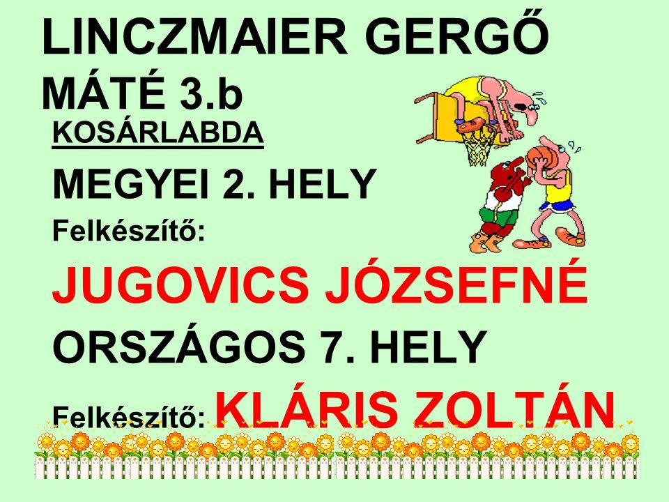 LINCZMAIER GERGŐ MÁTÉ 3.b KOSÁRLABDA MEGYEI 2. HELY Felkészítő: JUGOVICS JÓZSEFNÉ ORSZÁGOS 7. HELY Felkészítő: KLÁRIS ZOLTÁN